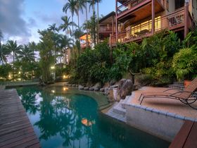 Point 8 Villa pool at dusk Luxury Accommodation Port Douglas
